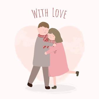 カップルが抱き合って幸せなバレンタインデーのお祭りのコンセプト。