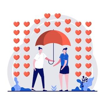 Концепция фестиваля с днем святого валентина с крошечным персонажем и символом любви в форме сердца.