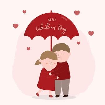 작은 캐릭터와 함께 해피 발렌타인 축제 개념.