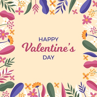 Happy valentine's day flat background with leaves