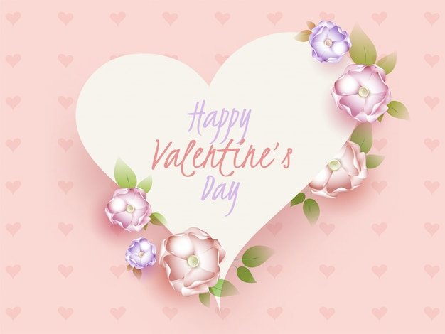 Happy valentine's day font in white heart shape decorated with realistic flowers on pink heart pattern .