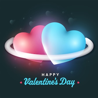 Happy valentine's day font with glossy couple hearts on teal background.