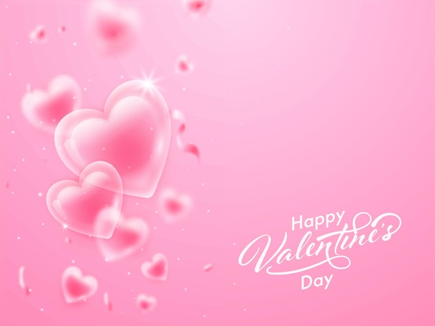 Happy valentine's day font with glossy hearts and confetti decorated on pink background