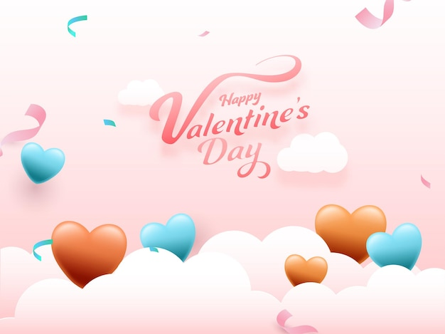Happy valentine's day font with glossy hearts, confetti ribbon decorated on white clouds and pink background.