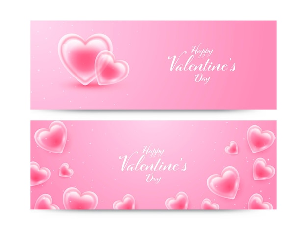 Happy valentine's day font with glossy hearts