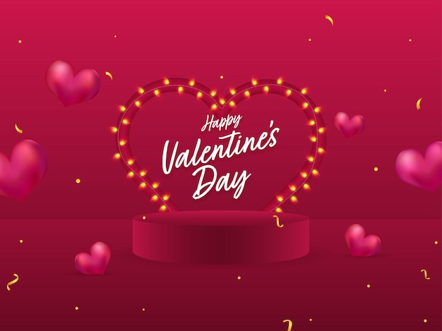 Happy valentine's day font with heart shape lighting garland and podium on dark pink background.