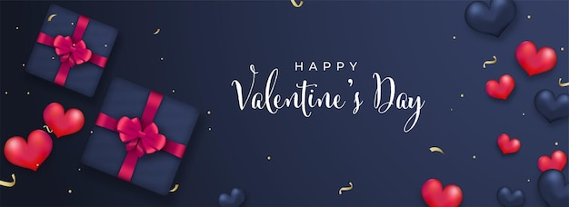 Happy valentine's day font with top view of gift boxes and glossy heart balloons on blue background.