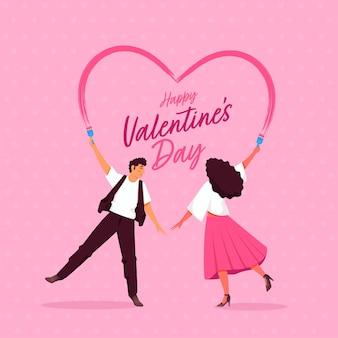 분홍색 배경에 페인트 브러시에서 마음을 만드는 젊은 부부와 함께 해피 발렌타인 글꼴.