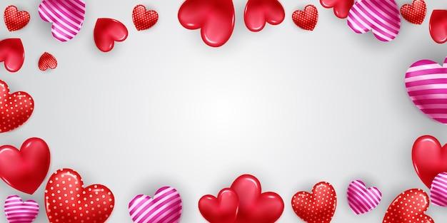 落下する3dハートと幸せなバレンタインデーのフレーム