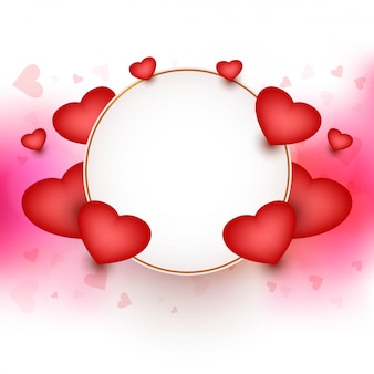 Happy valentine's day frame with hearts background