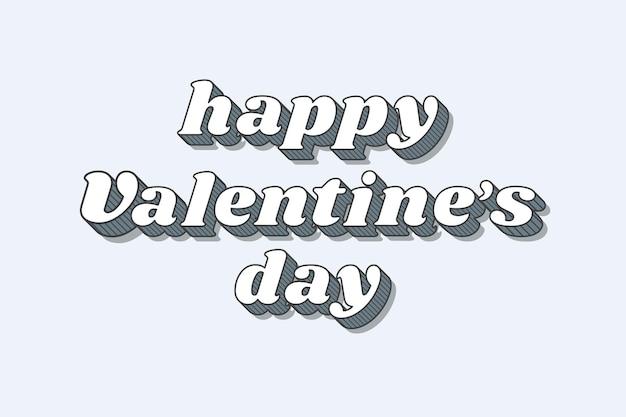Happy valentine's day funky bold calligraphy illustration