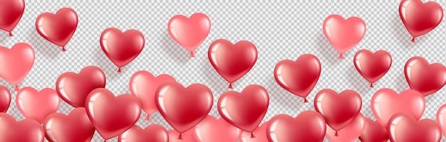 С днем святого валентина. гелевые шары-сердечки красные и розовые. горизонтальный баннер с местом для текста.