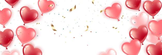С днем святого валентина. гелевые шары-сердечки красные и розовые.