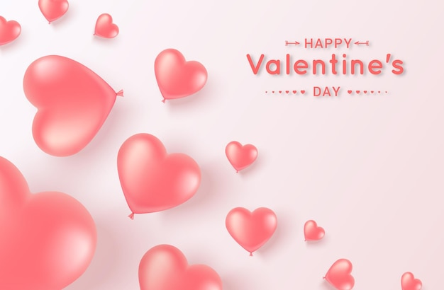 С днем святого валентина. гелевые розовые шары-сердечки баннер с местом для текста