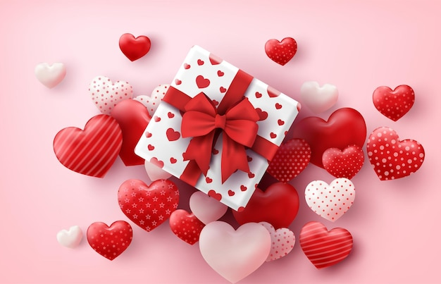 Happy valentine's day gift box and hearts balloons