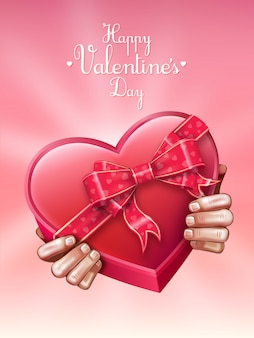 해피 발렌타인 데이 선물 심장 모양의 초콜릿