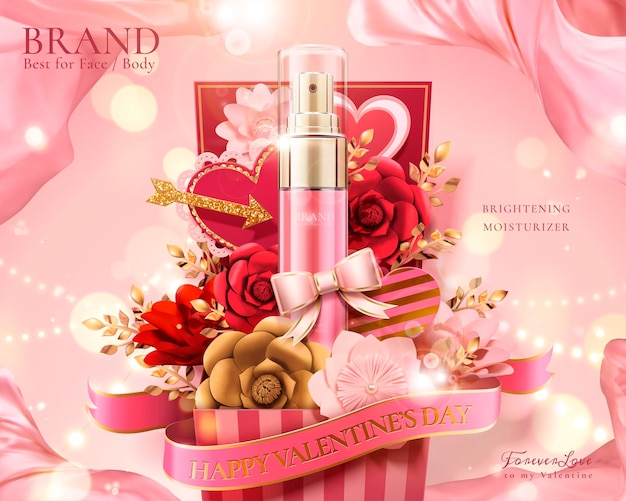 Happy valentine's day gift set with paper flowers and spray bottles in 3d illustration