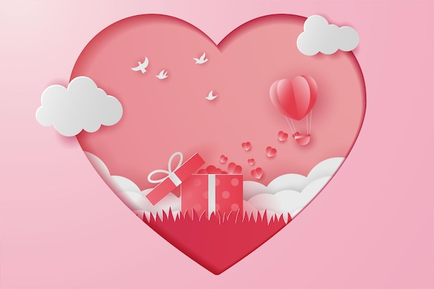 幸せなバレンタインデーの贈り物、鳥と野草、紙カット
