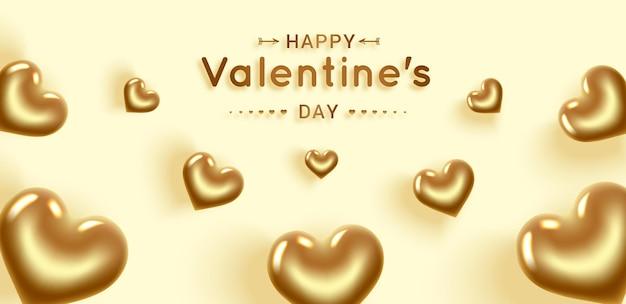 С днем святого валентина. золотые сердца. баннер с местом для текста. открытка с днем рождения, международный женский день. изолированные на желтом фоне