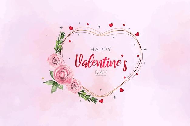 아름 다운 꽃과 함께 행복 한 발렌타인 데이 골든 프레임