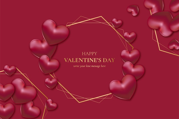 Happy valentine's day golden frame with realistic hearts