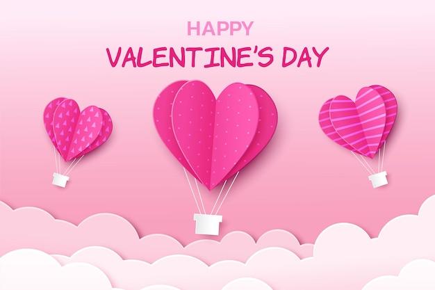 С днем святого валентина поздравительный баннер в реалистичном стиле papercut