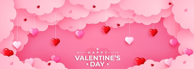 Happy valentine's  day greeting banner in papercut realistic style. paper hearts and clouds