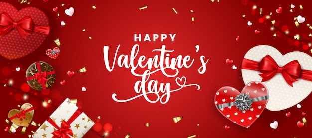 Happy valentine's day greeting banner.