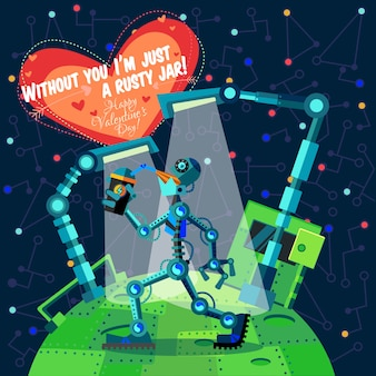 Happy valentine's day greeting card about robot