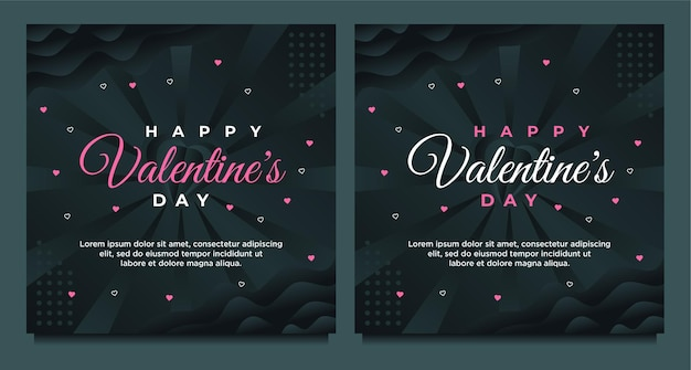 幸せなバレンタインデーのグリーティングカードとソーシャルメディアの投稿テンプレート