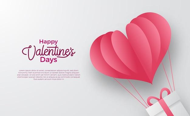 ハッピーバレンタインデーグリーティングカードバナーイラストフライバルーンハート紙カットイラスト白い背景