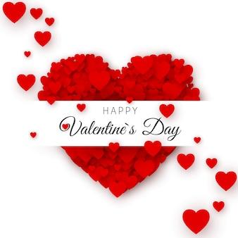 С днем святого валентина шаблон обложки поздравительной открытки. рамка в форме сердца с этикеткой. сердце, состоящее из множества сердец с местом для текста. иллюстрация