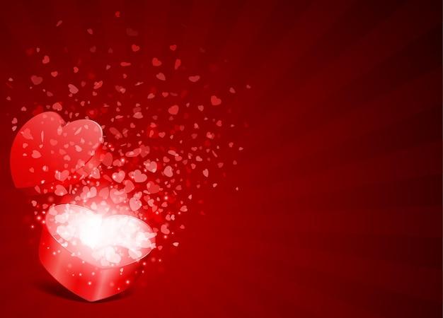Дизайн поздравительной открытки с днем святого валентина и подарочная коробка в виде сердца