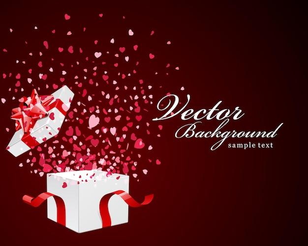 Дизайн поздравительной открытки с днем святого валентина и подарочная коробка с конфетти из сердечек
