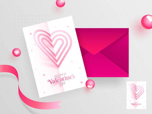 Happy valentine's day greeting card design with envelope.