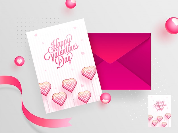 Happy valentine's day greeting card design with envelope