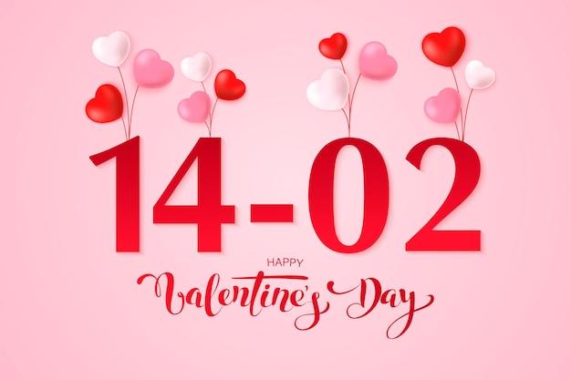 С днем святого валентина дизайн поздравительной открытки с рамкой