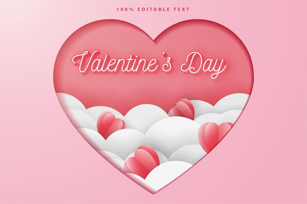 Happy valentine's day greeting card, paper cut style with editable text effect.