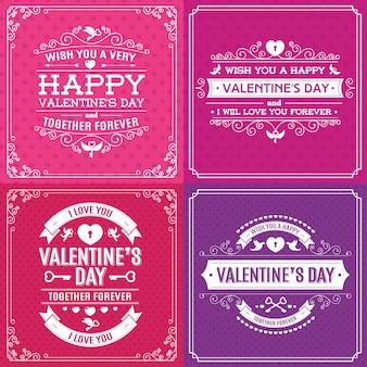 ハッピーバレンタインデーのグリーティングカードは、ヴィンテージフレームと心の背景の異なる色に設定されています。