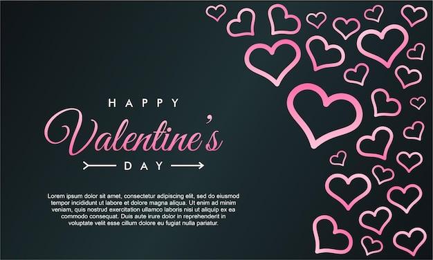 ピンクのハートと幸せなバレンタインデーのグリーティングカードテンプレート