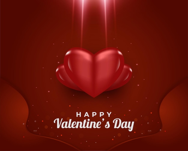 빛나는 빛으로 3d 빨간 하트와 해피 발렌타인 데이 인사말 카드