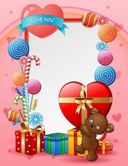 Открытка ко дню святого валентина с медведем