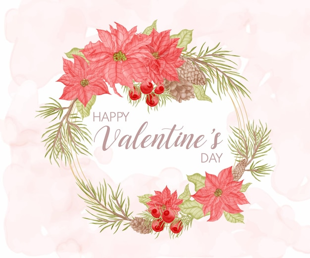 美しい花のフレームと幸せなバレンタインデーのグリーティングカード