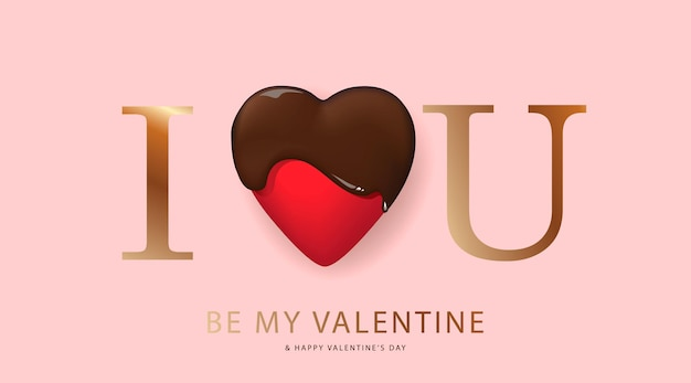 Happy valentine's day greeting card with chocolate heart
