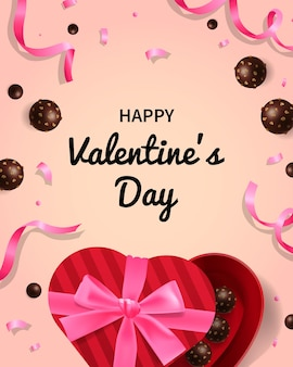 Happy valentine's day greeting card with chocolate present box and ribbons