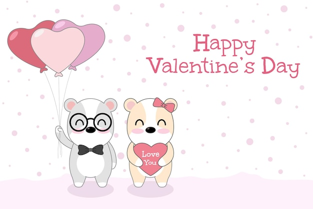 Happy valentine's day greeting card with cute dog loving couple with the heart balloons.