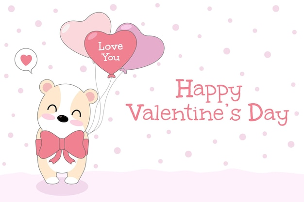 大きなピンクの弓とハートの風船を持つかわいい犬と幸せなバレンタインデーのグリーティングカード。