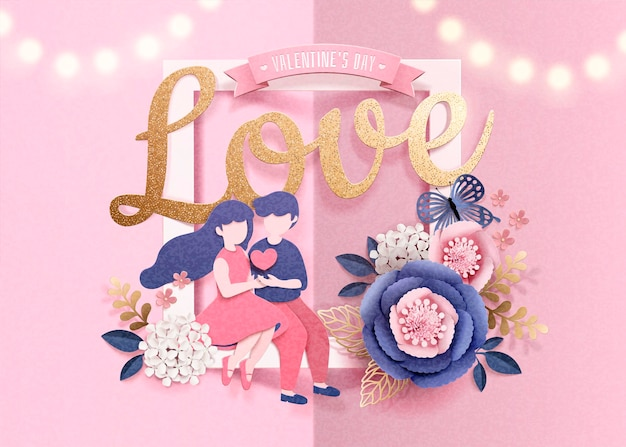Happy valentine's day greeting card with dating couple and paper flowers frame in 3d style