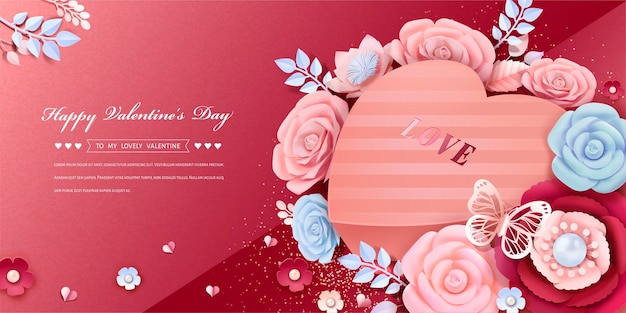 3d 스타일의 종이 꽃 장식과 디자인 심장 모양의 선물 상자와 함께 해피 발렌타인 데이 인사말 카드