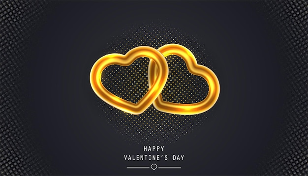 Happy valentine's day greeting card with golden heart